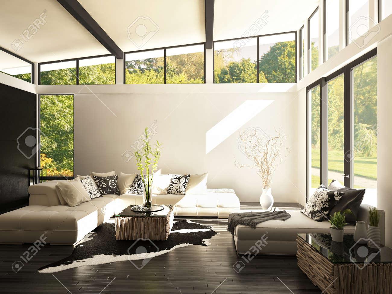 Modern White Living Room Stock Photo   32227240