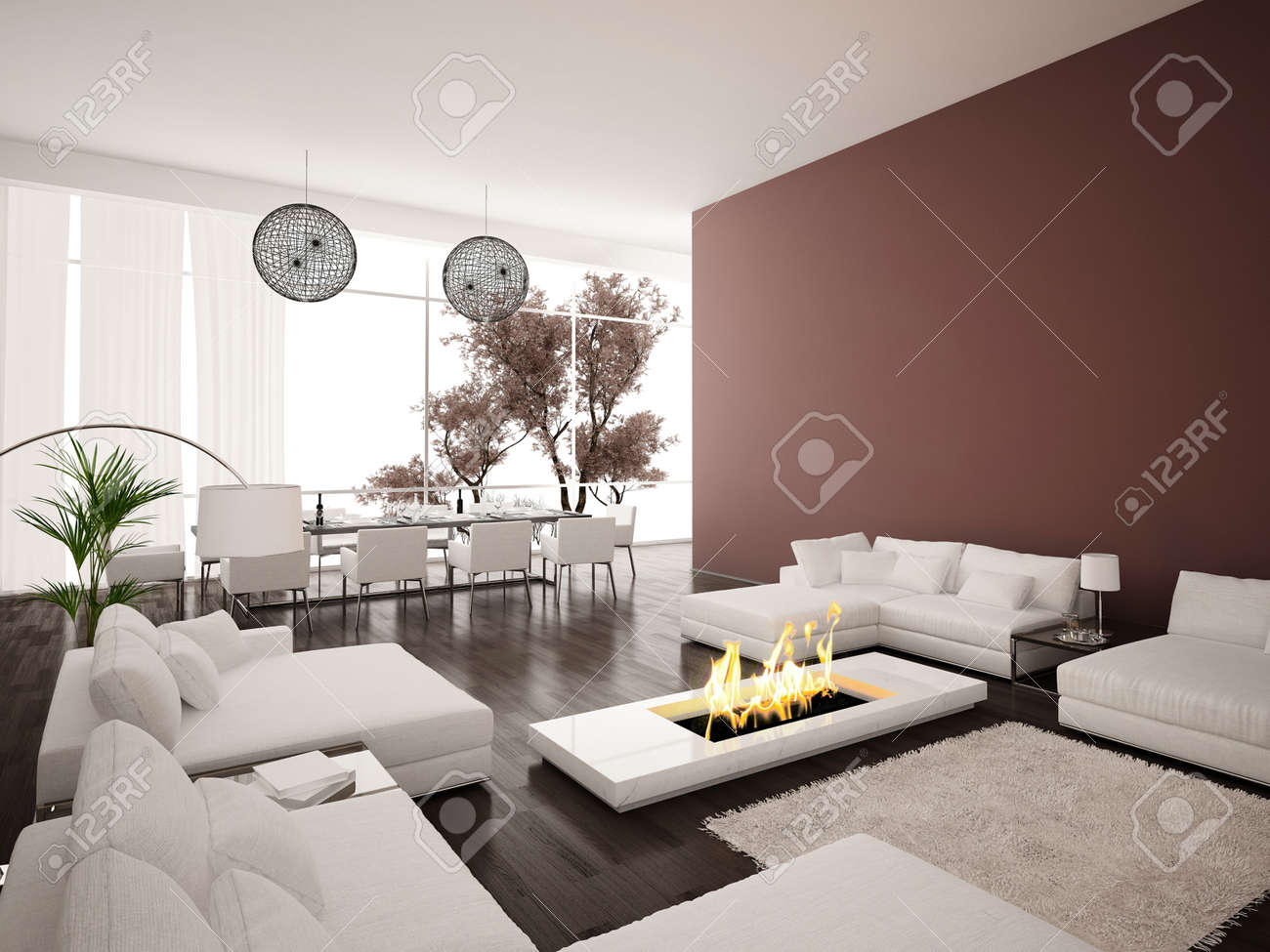 Salon avec cheminée moderne