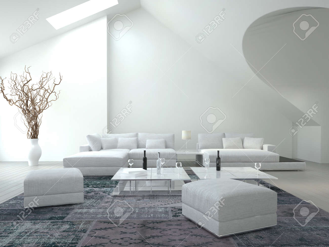 Classy White Living Room Stock Photo, Picture And Royalty Free Image ...
