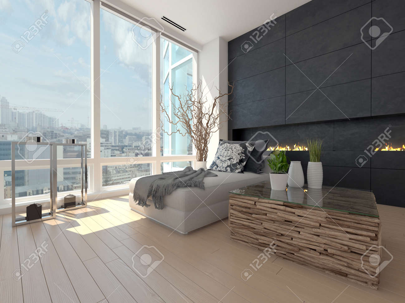 Modern Design Living Room With Cityscape View Stock Photo, Picture ...