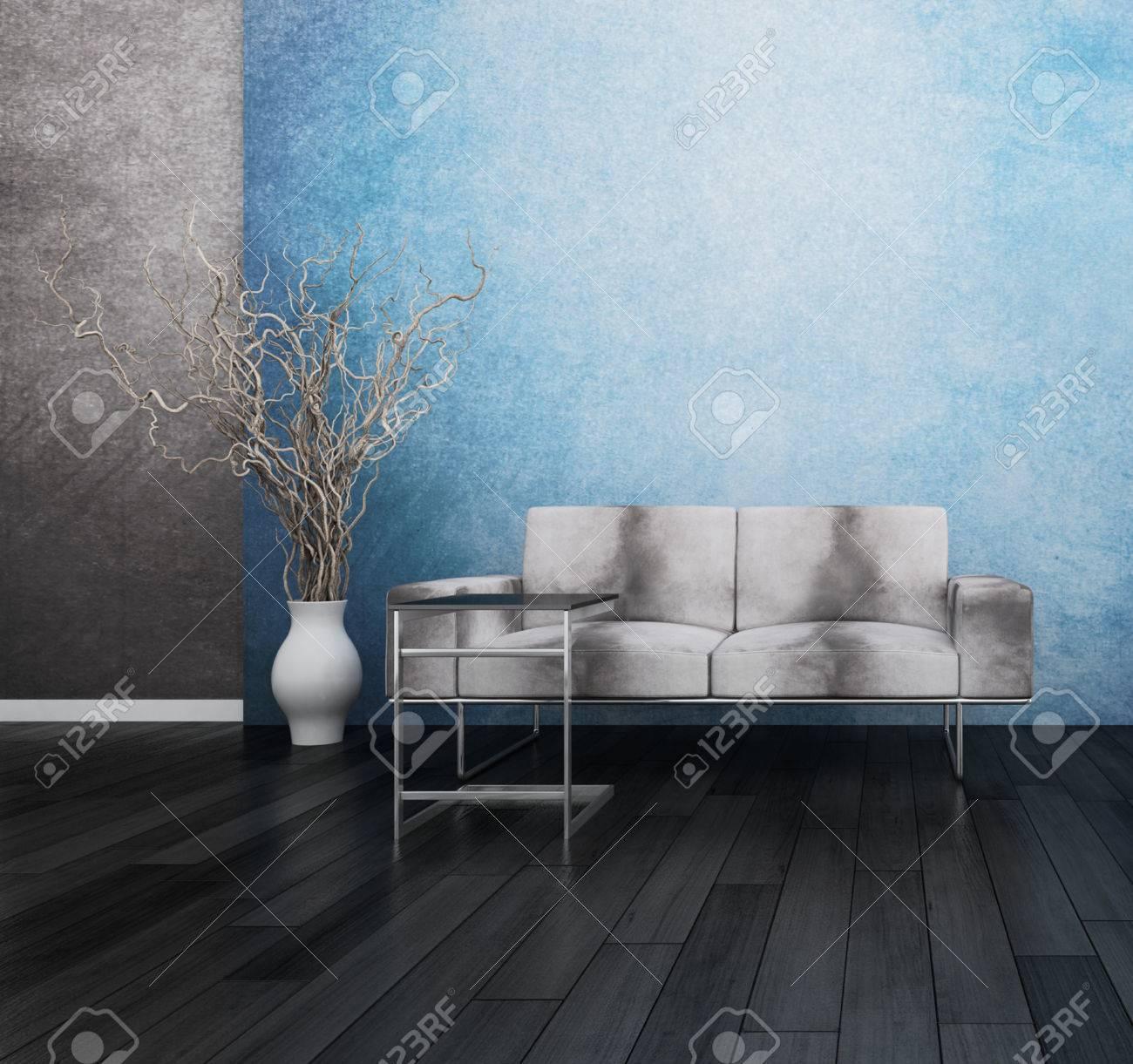 Moderne grijze bank tegen blauwe muur royalty vrije foto, plaatjes ...