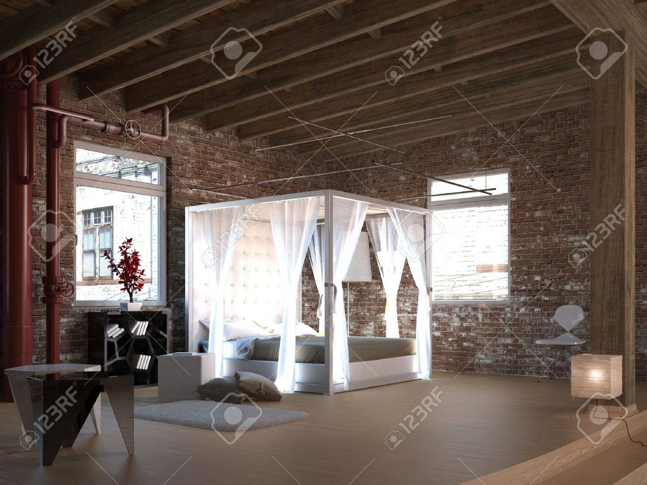 canopy bed design with brick wall stock photo, picture and royalty
