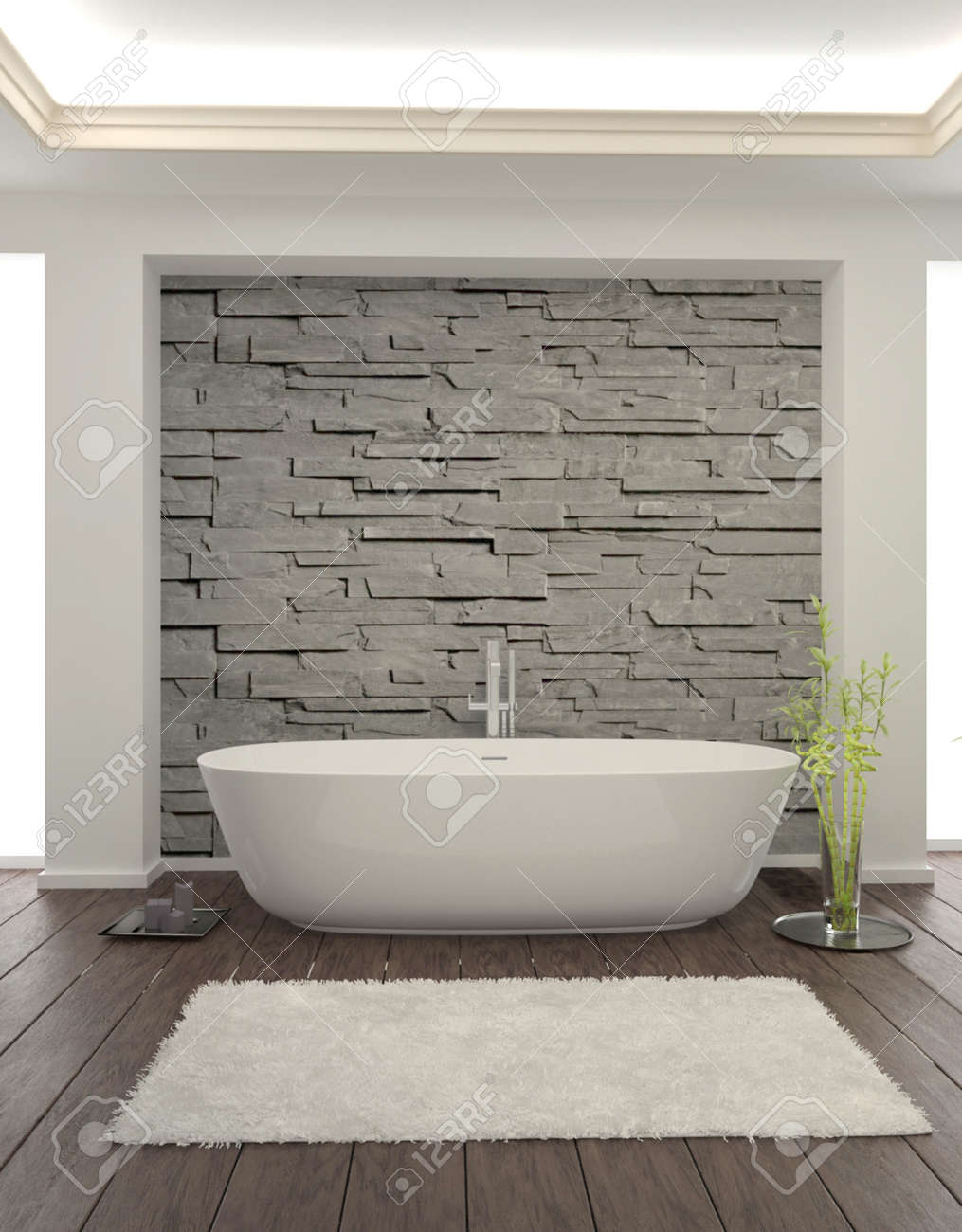 Modern Bathroom Interior With Stone Wall Stock Photo, Picture And ...