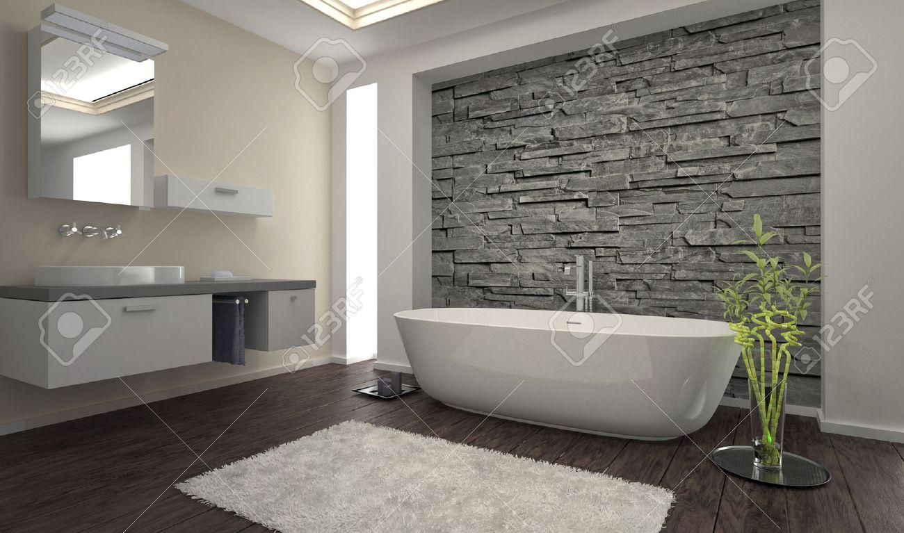 . Modern bathroom interior with stone wall