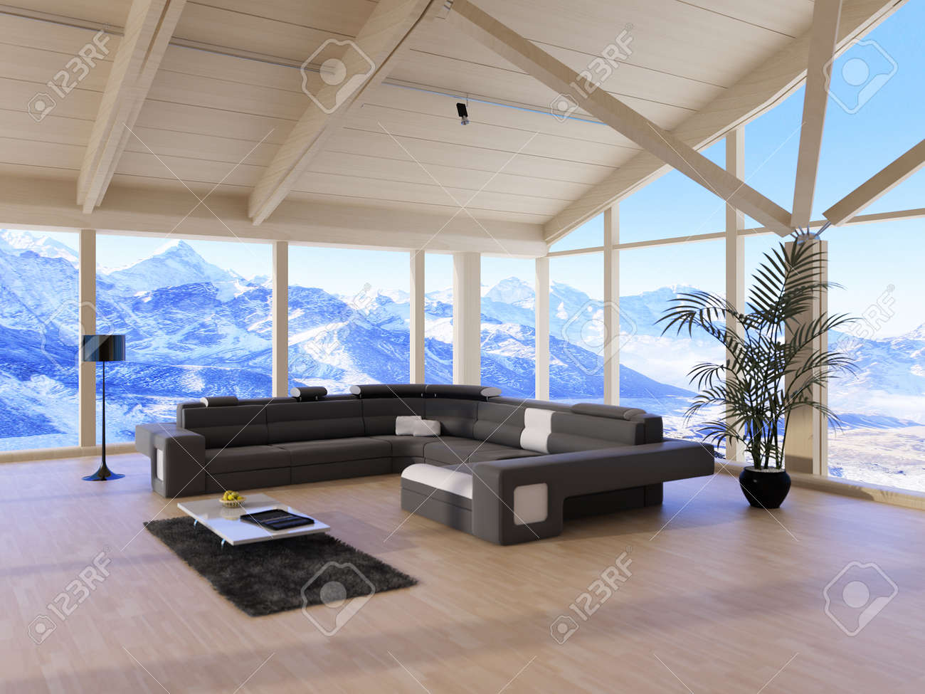 Modern loft living room - Modern Loft Living Room With Black Couch And Mountain Range View Stock Photo 32227605