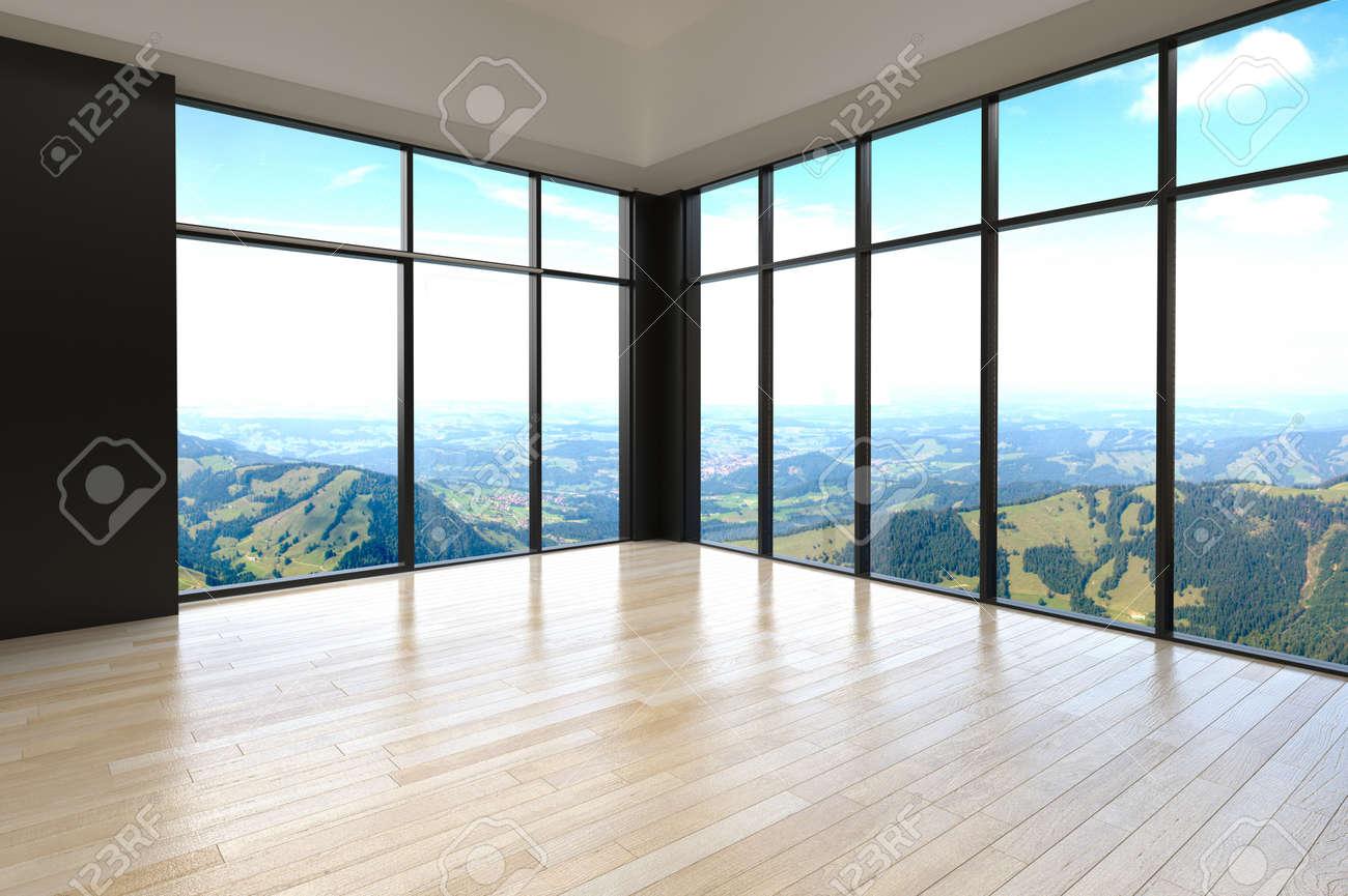 Banque dimages chambre simple avec architectural empty glass window designs pour surplombant outside view