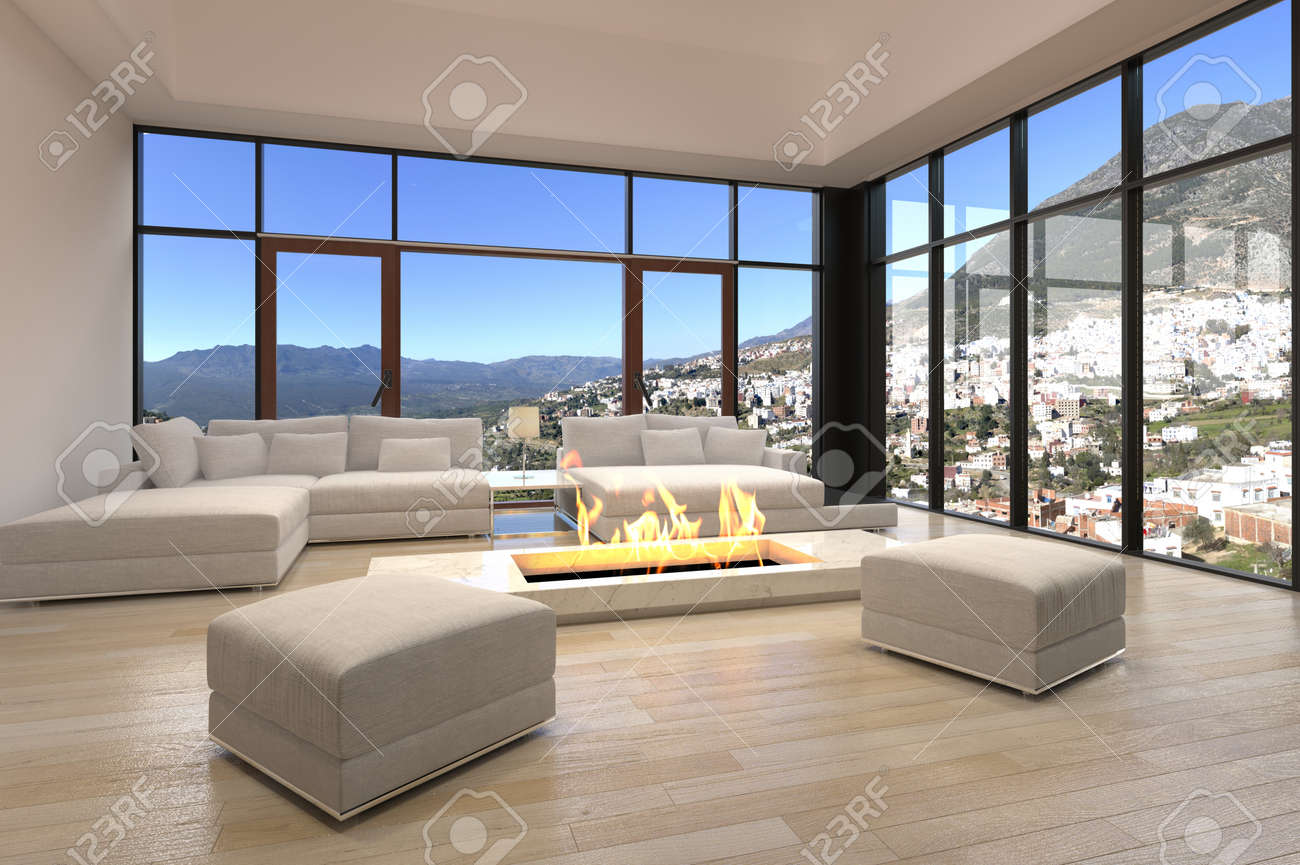 central open fireplace design on elegant living room with large