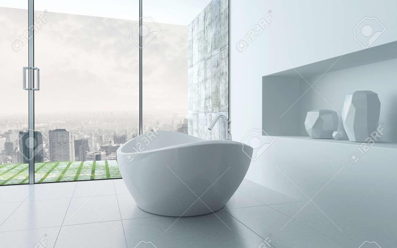 Freestanding Bathtub In A Modern White Bathroom Interior Stock Photo ...