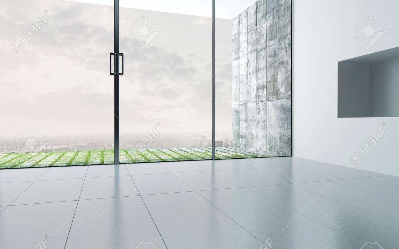Leerer Raum Interieur Mit Großflächig Verglaste Fassade Lizenzfreie ...