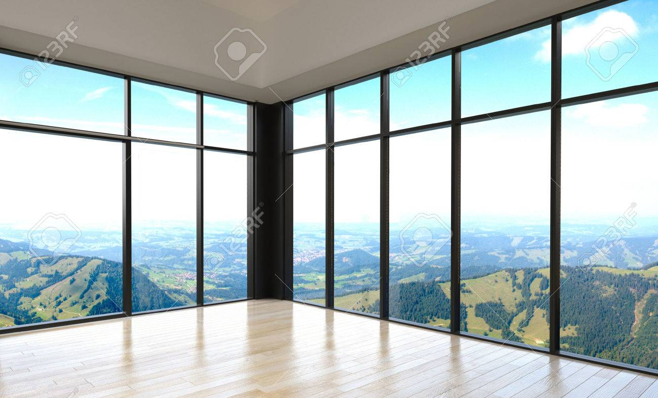 Simple stylish empty room with overlooking outside view from glass walls design stock photo