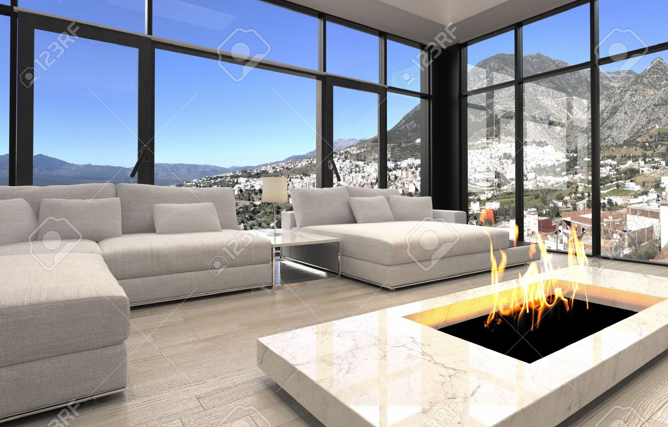 open fireplace at elegant architectural living room design with