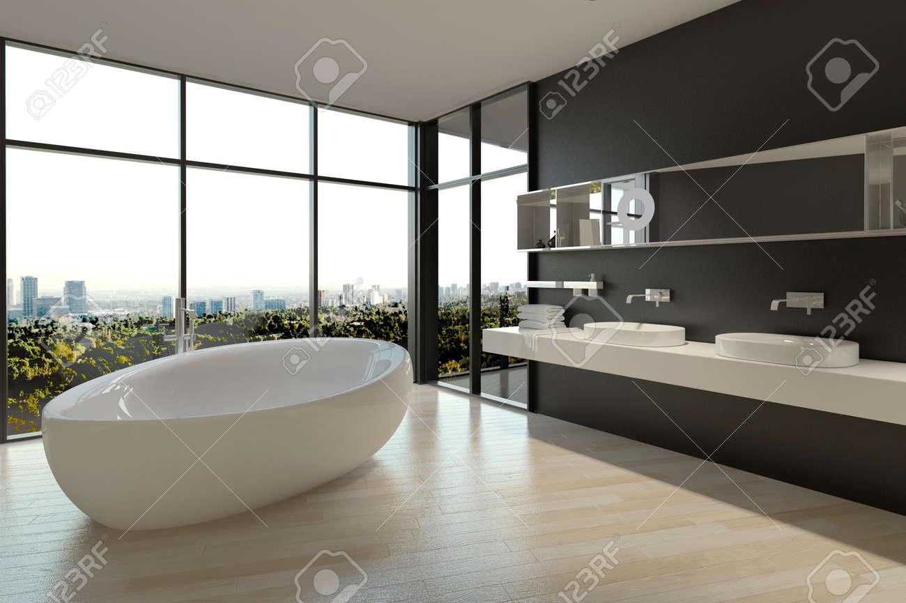 Blanc céramique baignoire et puits sur salle de bain design ...