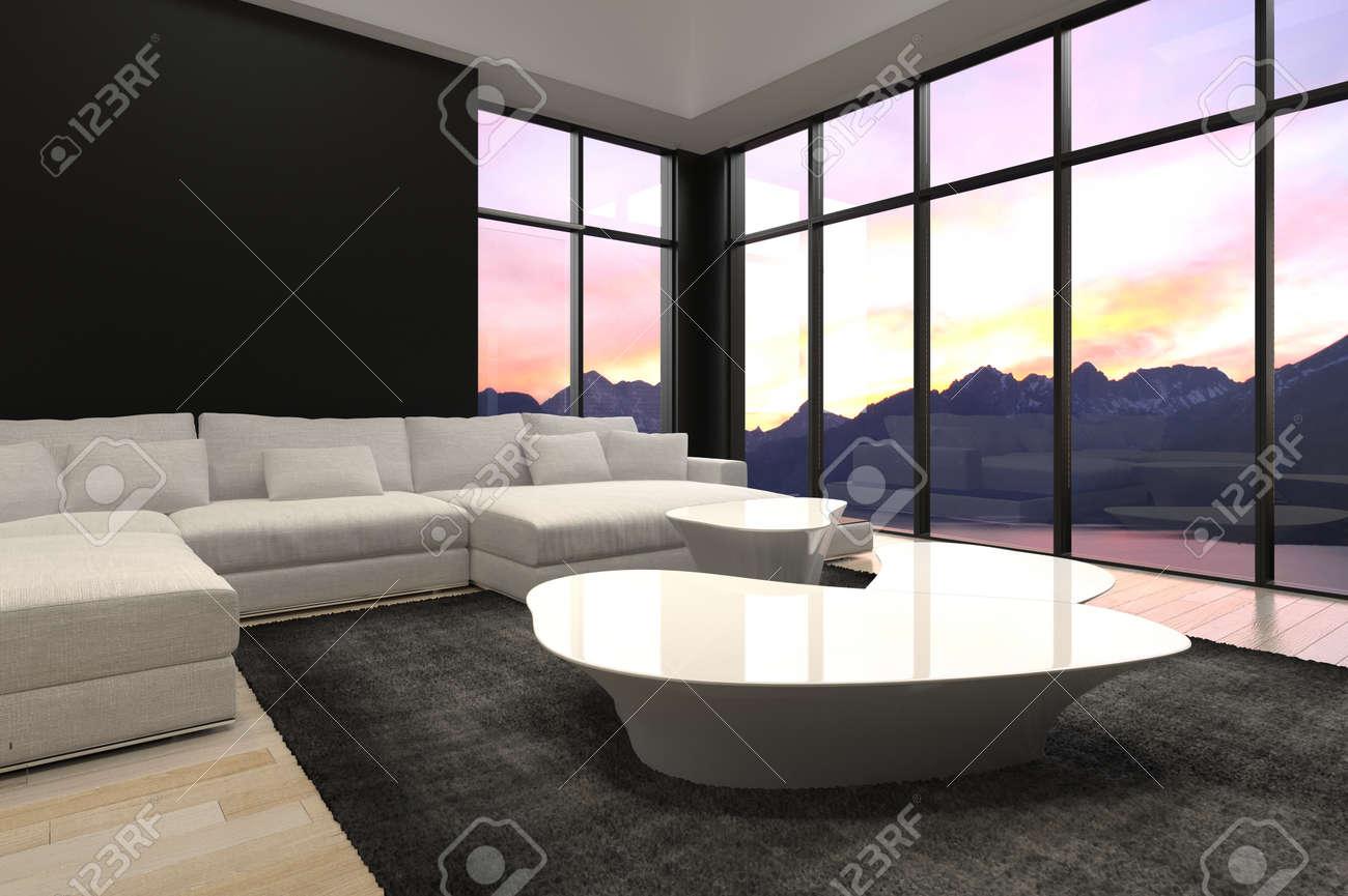 Elegante Schwarzweiss Architektur Wohnzimmer Design Mit Transparentem  Glaswände Stil. Standard Bild   32893959