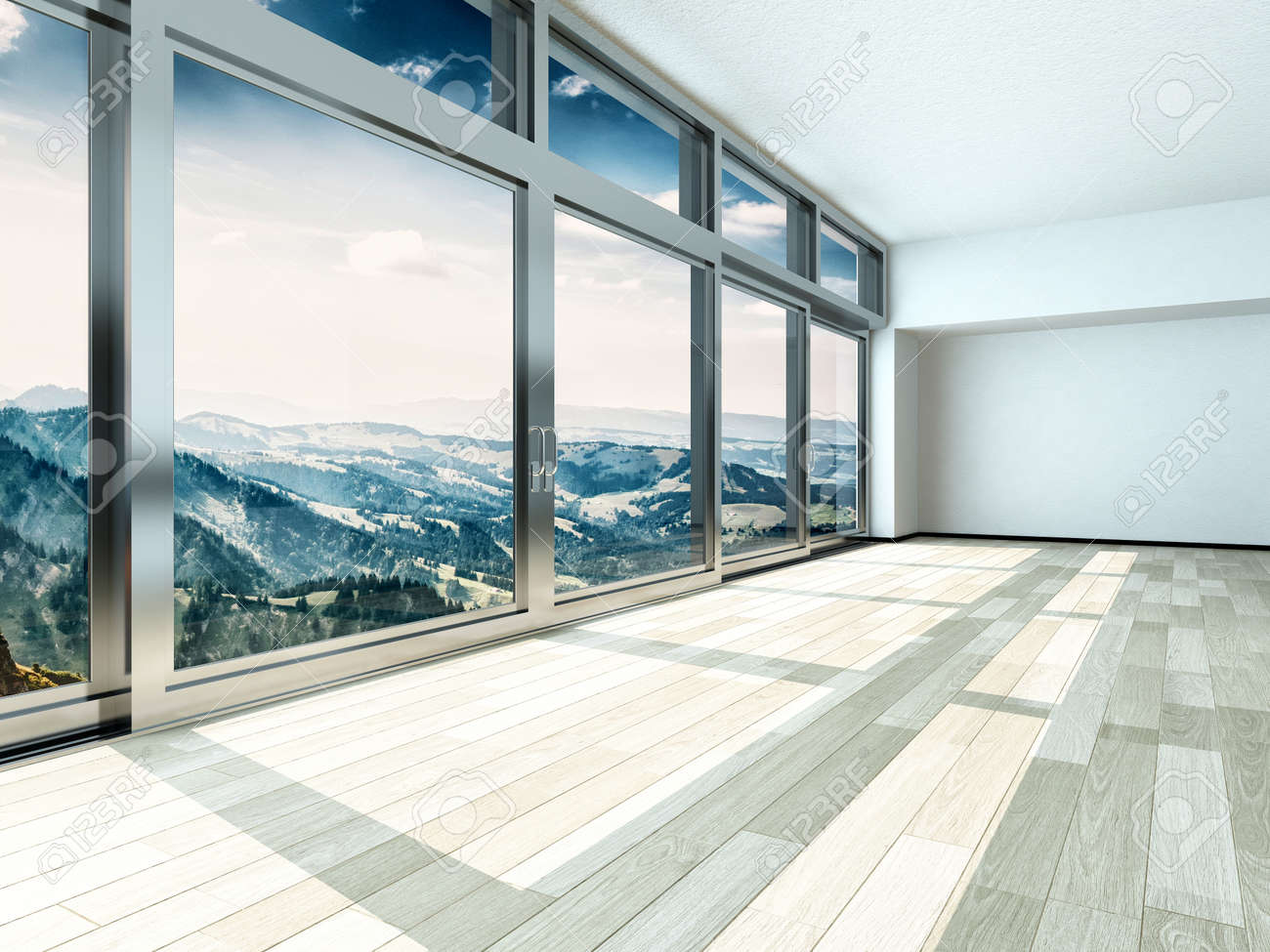 Interior windows architectural - Overlooking Outside View From Large Windows On Metal Frames In Architectural Interior Design Stock Photo