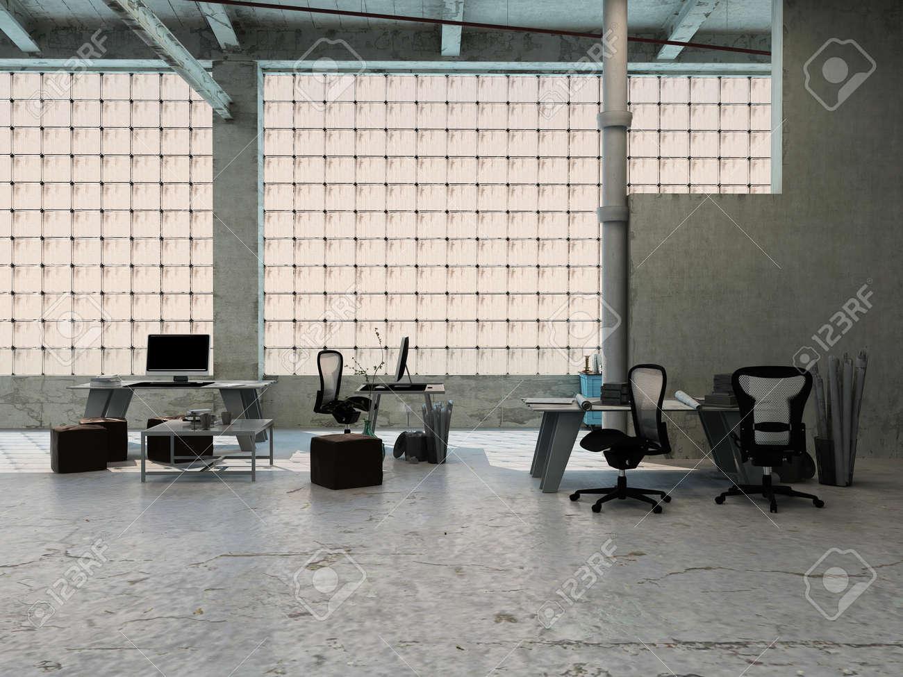 Frente Grandes Dispuestos En De Pequeña Industrial Loft Y Ventanas Un Oficina Con MesasTaburetesSillas Equipos Rea tQdshr