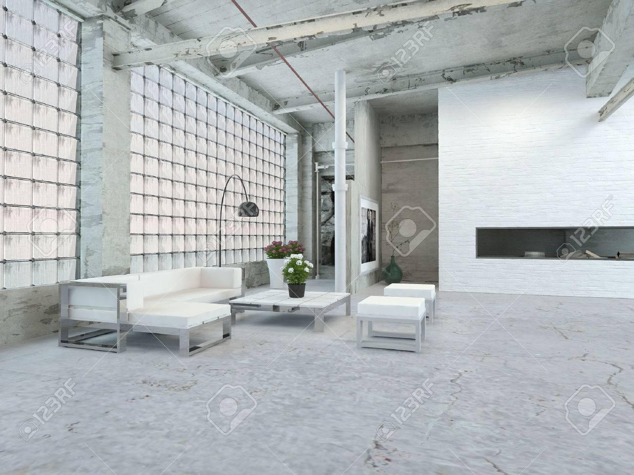 Schöne Architektur Wohnzimmer Interior Design Mit Weißen Tisch Und Stühle.  Standard Bild   32894040