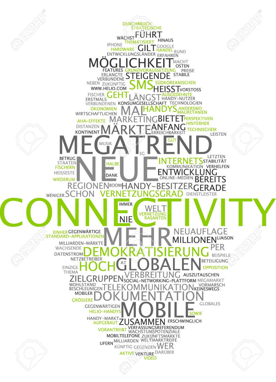 stock photo word cloud of connectivity in german language - Entwicklungslander Beispiele
