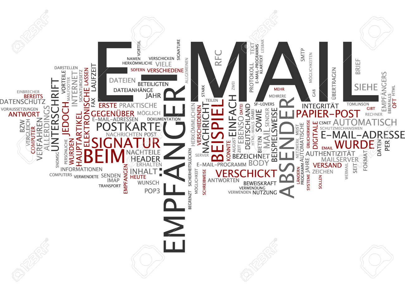 Word Cloud Of E Mail In German Language Stock Photo Picture And