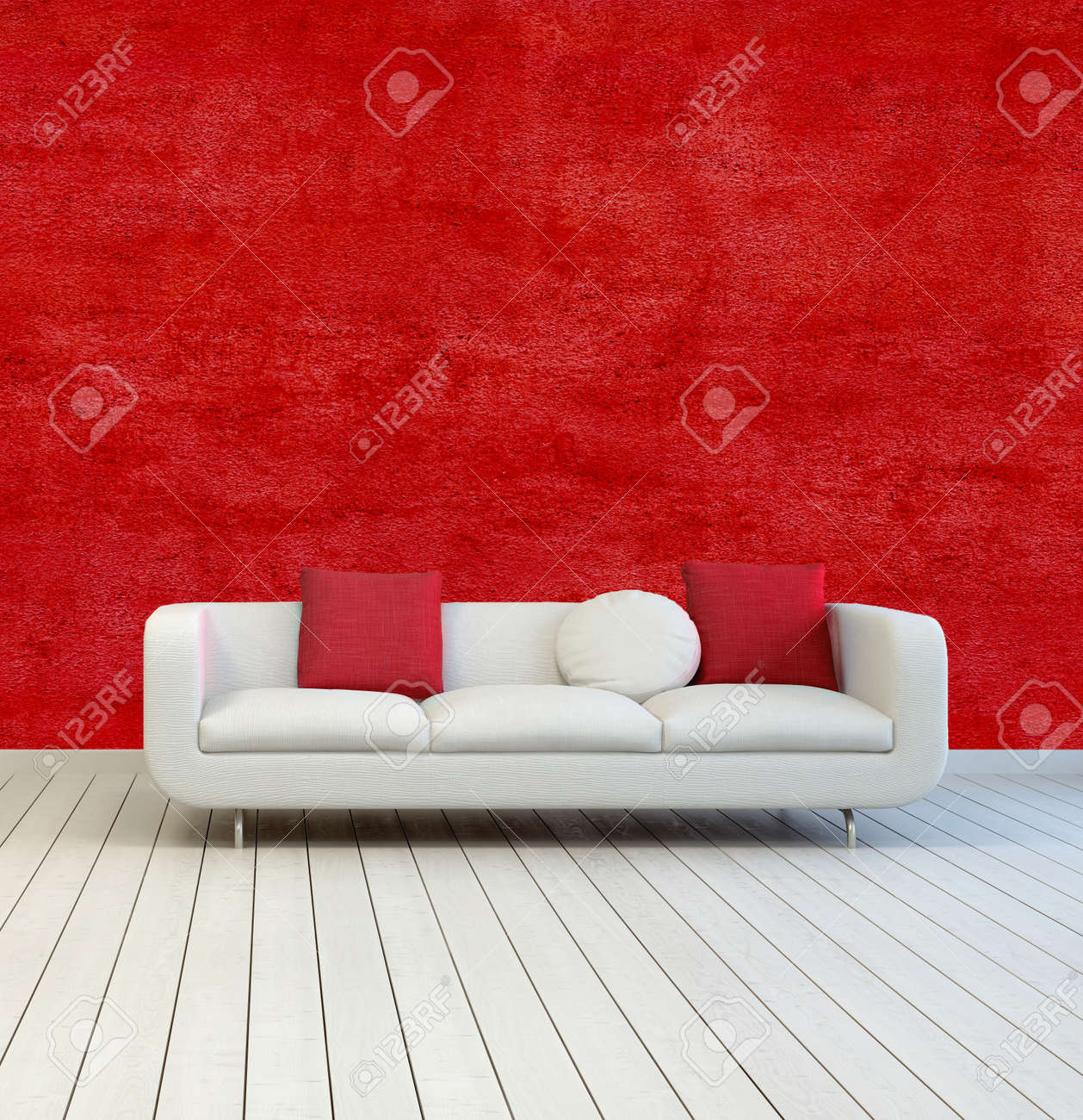 Beau Stock Photo   White Sofa With Red And White Pillows On An Empty Room With  Red Wall Background And Off White Wooden Floor.