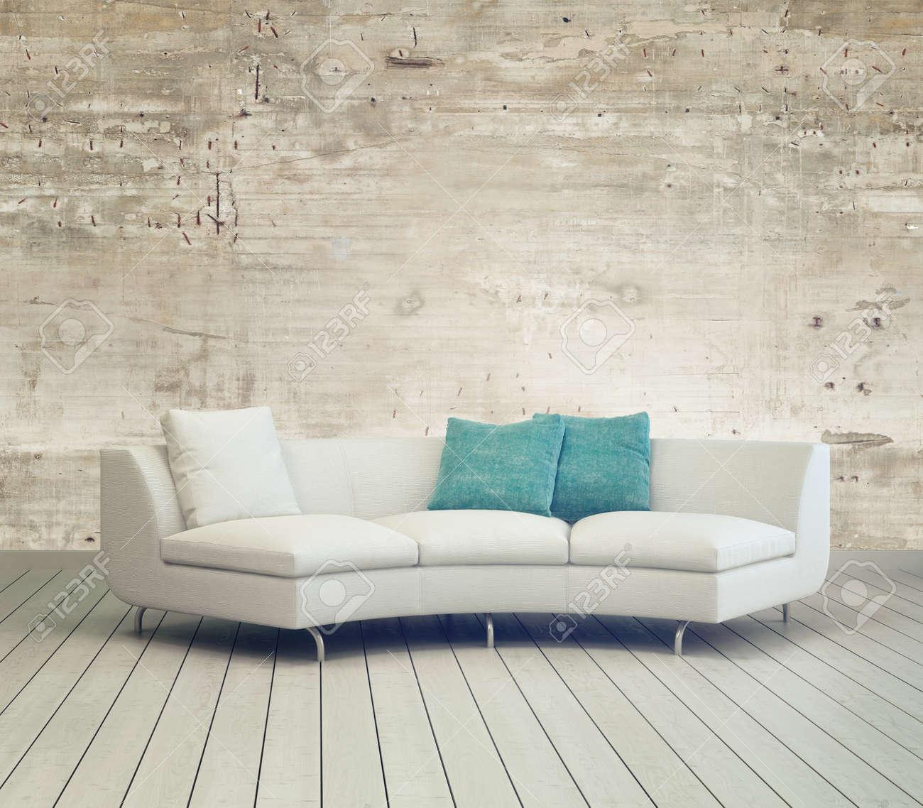 Vit soffa möbler på mysigt vardagsrum med unfinished vägg bakgrund ...