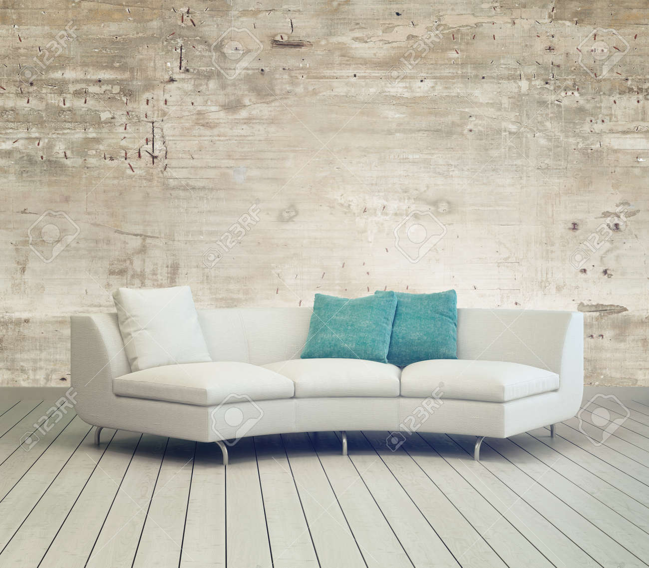 White Couch Furniture On Cozy Living Room With Unfinished Wall