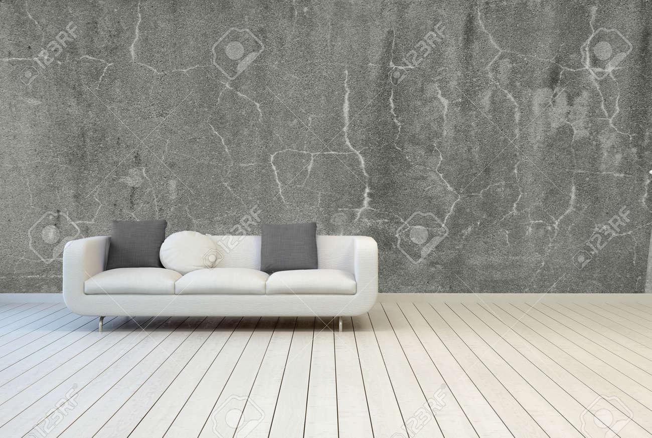 Blanc canapé avec gris et blanc oreillers on empty vintage salon ...