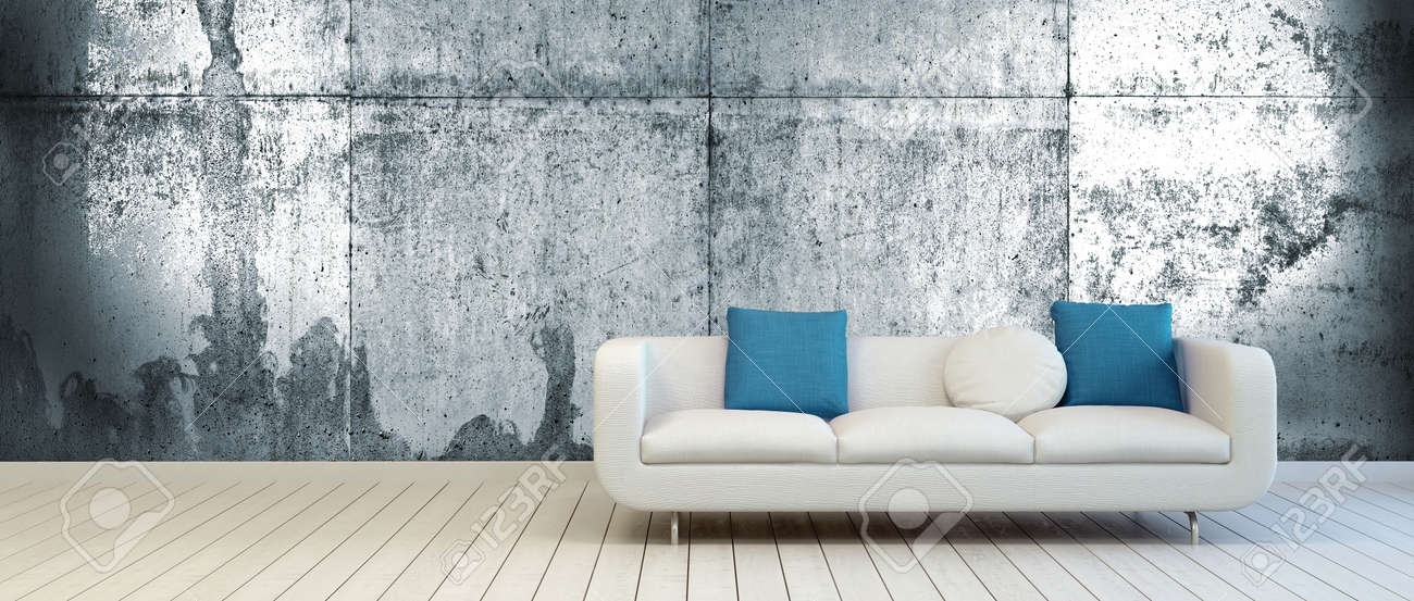 Elegant Couch with White and Blue Green Pillows on an Empty Living..