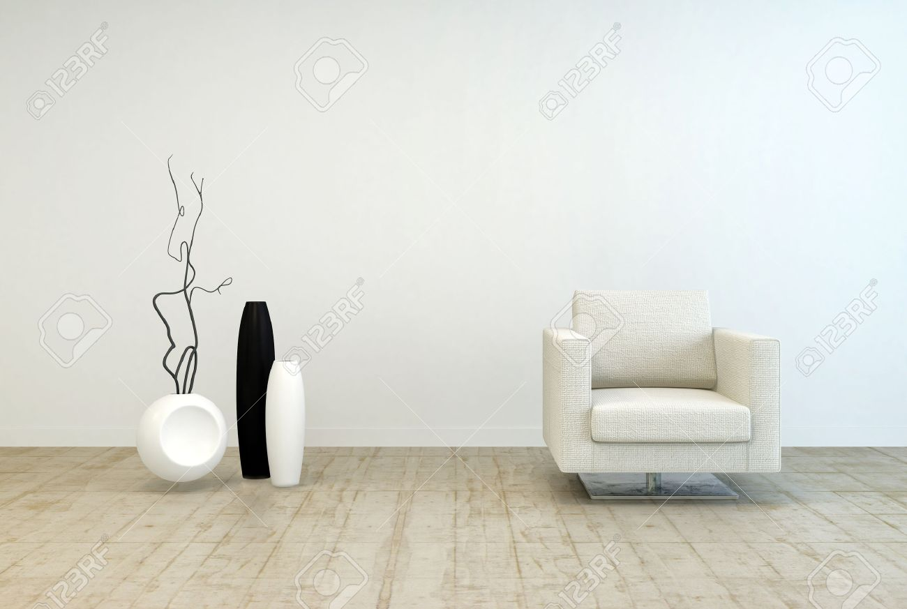 Living Room With White Walls Off White Single Chair Furniture And Vase Decors At Elegant Living
