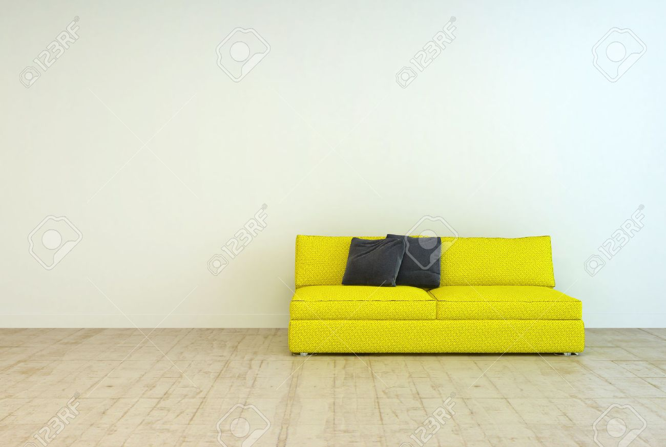 Yellow Couch Furniture With Black Pillows On An Empty Living Room Off White Wall Background