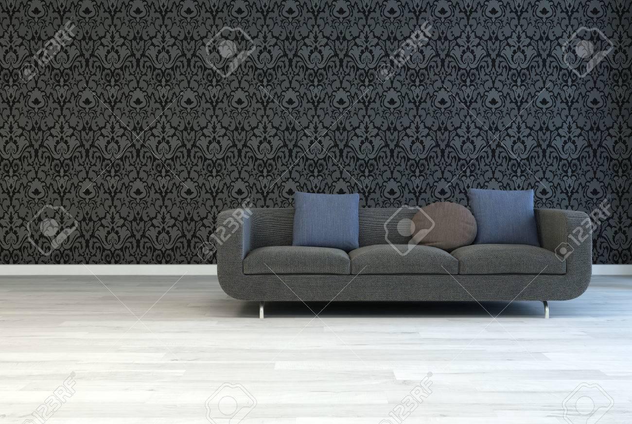 Gris foncé Canapé avec carré et rond oreillers sur un salon Chambre  architecture avec Artistique Motif floral noir et blanc cassé mur Parquet.