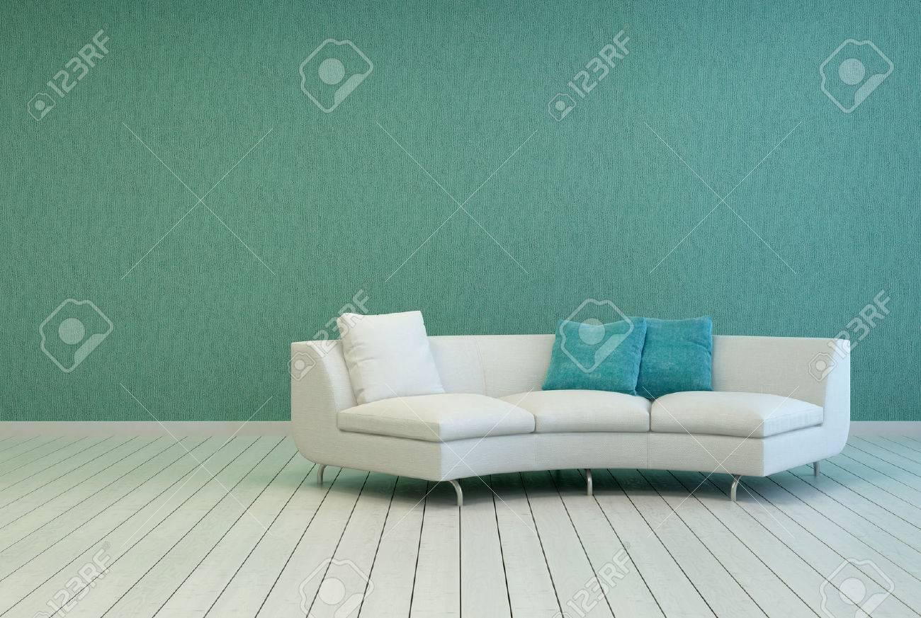 Elegante witte bank met plein kussens op een lege woonkamer met ...
