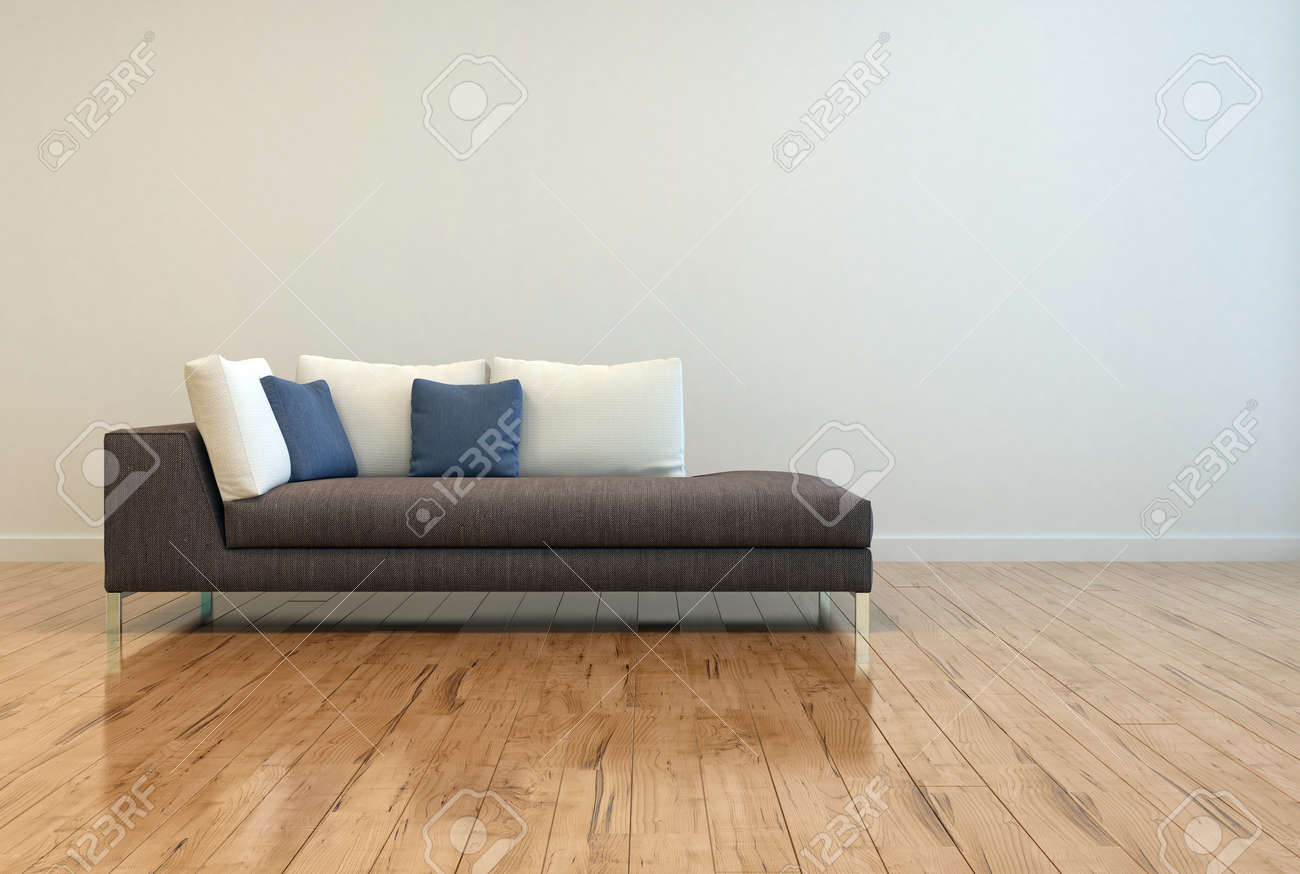 Plain wood table with hipster brick wall background stock photo - Attractive Gray Sofa With White And Blue Pillows On Empty Lounge Room With Off White Wall