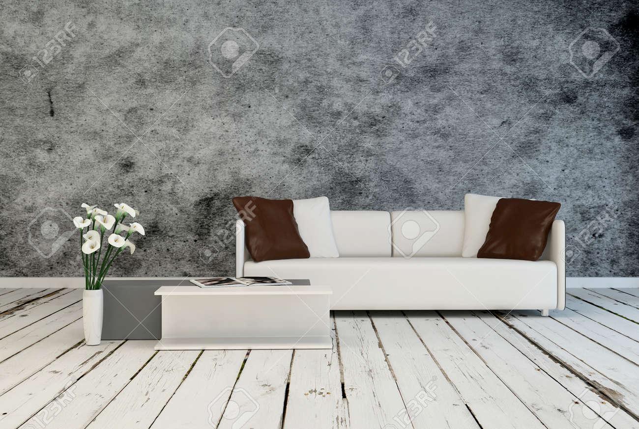 Modern minimalistisk grått och vitt vardagsrum inredning med klädd ...