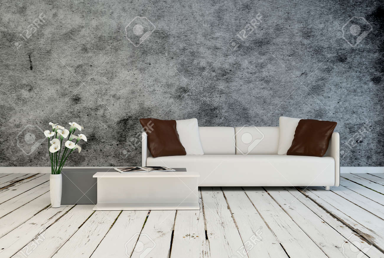Modern Minimalist Grey And White Living Room Interior Decor With An  Upholstered Couch And Low Table