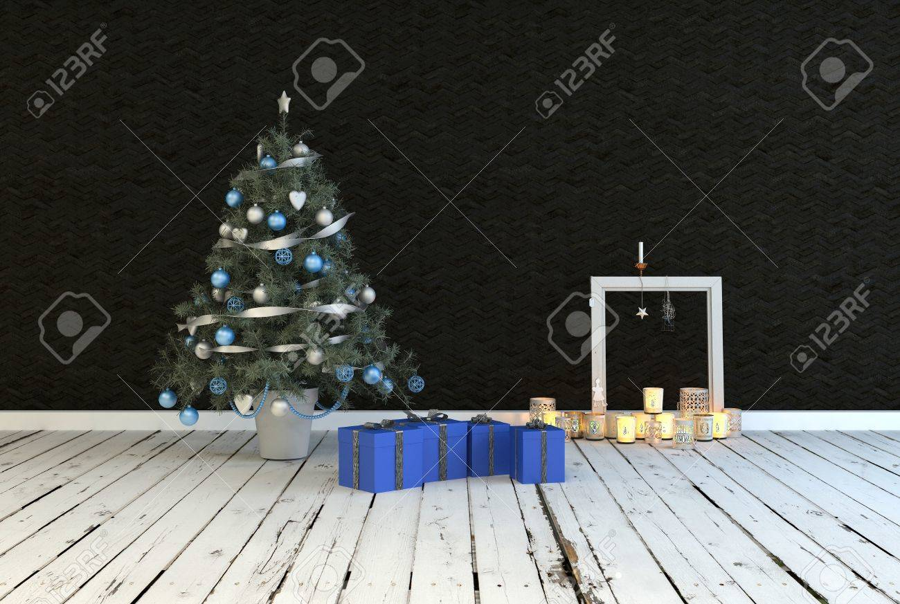 Simple Rustic Christmas Living Room Interior Decor With A Decorated Stock Photo Picture And Royalty Free Image Image 33999258