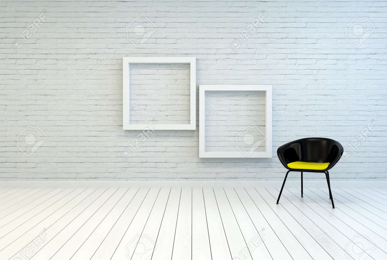 Tub Chair Alongside Two Empty Square White Wooden Picture Frames ...