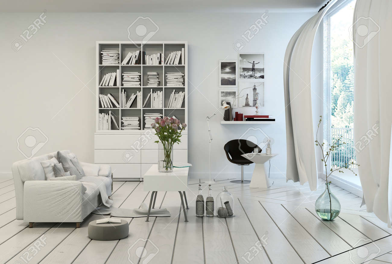 Compact modern white living room interior with white painted wooden floor and walls a single