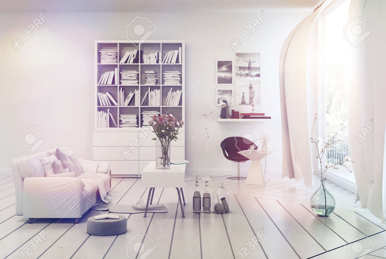 Ljusa luftiga vita vardagsrum inredning med enkel inredning av en ...