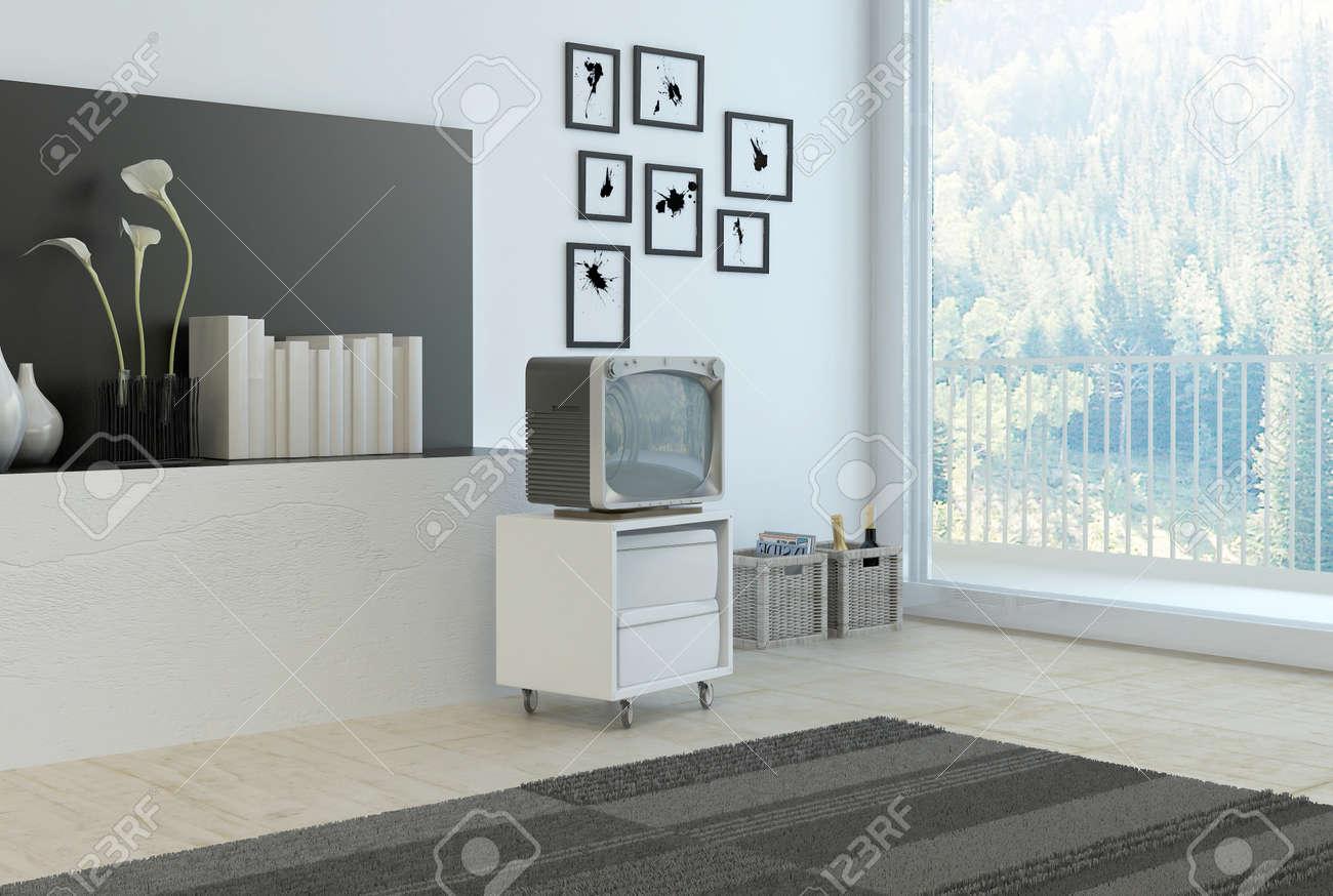 Einfache Wohnzimmer-Ecke Mit Grauen Und Weißen Dekor Mit Einer ...