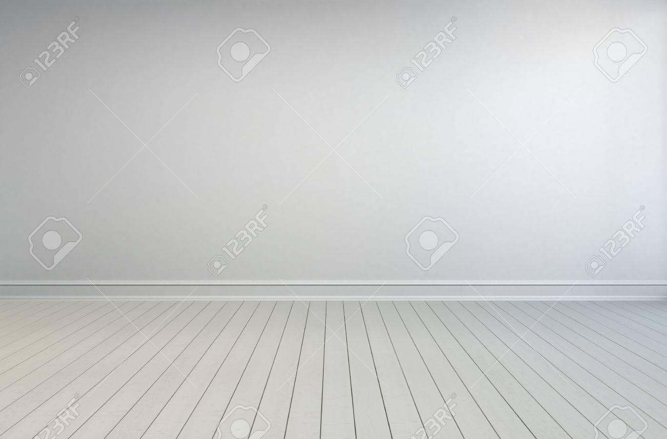 Einfache Leeren Weißen Innenraum Mit Bemalten Holzdielen
