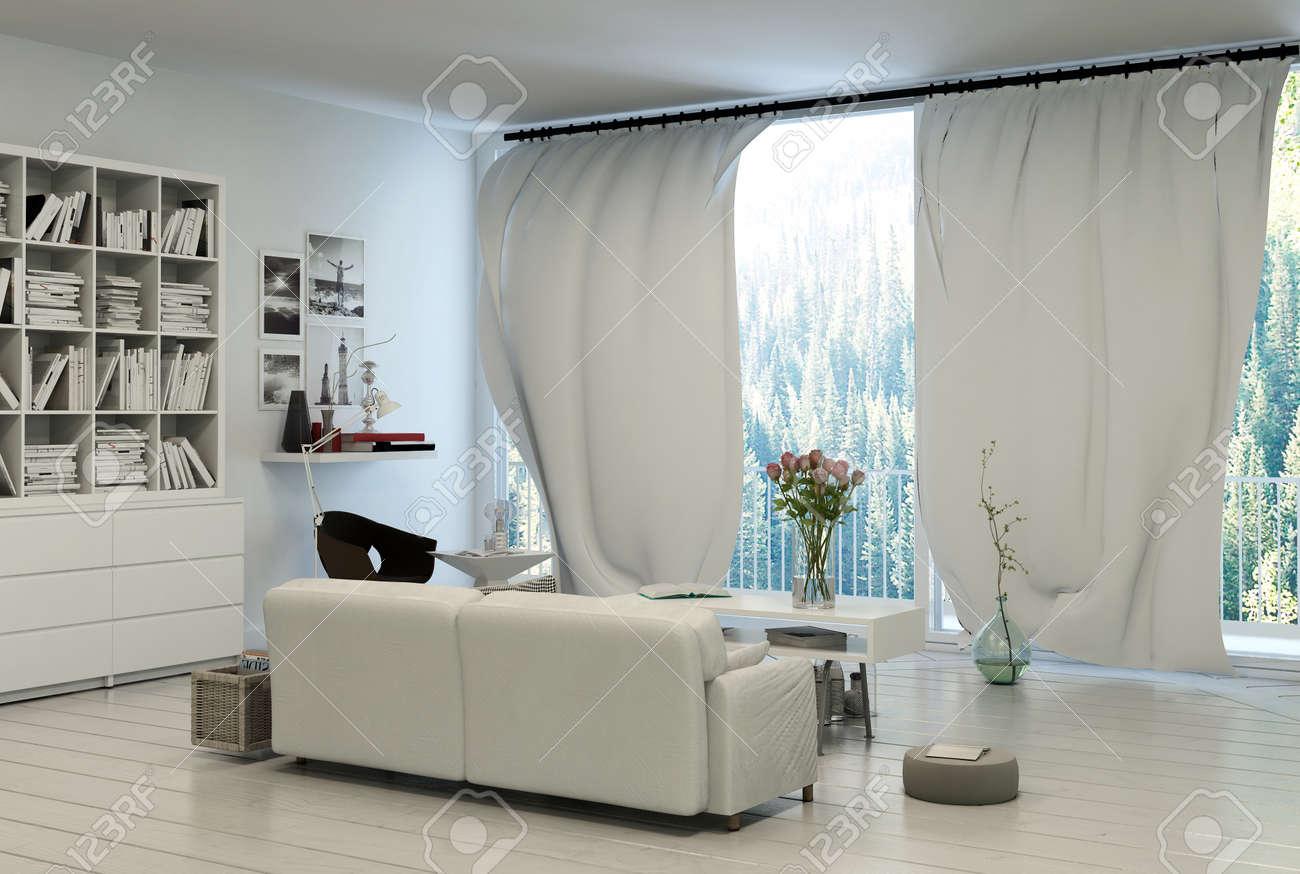 Cómodo Salón Interior Con Grandes Ventanas Panorámicas Con Cortinas Blancas Con Vistas A Un Jardín Con Una Estantería Llena De Libros En La Pared En