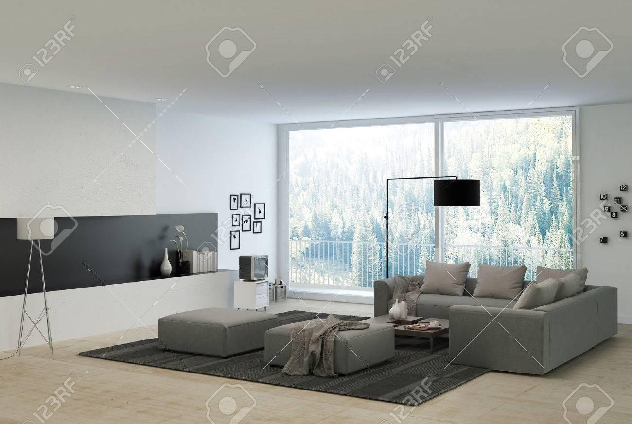 Grå Soffor På Elegant Vit Architectural Vardagsrum Med Glasfönster ...