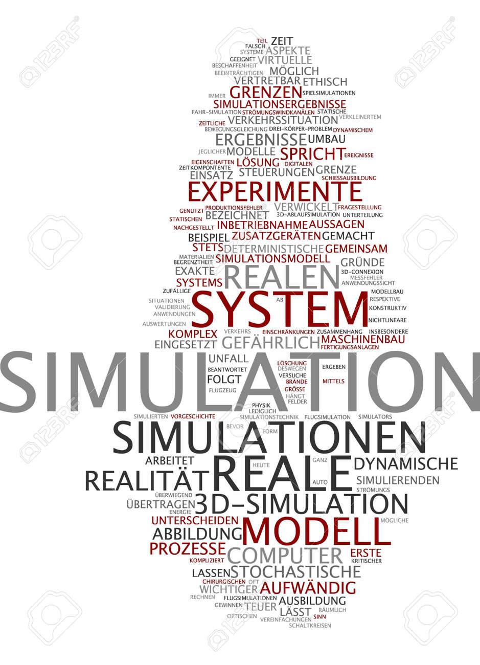 Word Cloud Of Simulation In German Language Stock Photo, Picture And ...