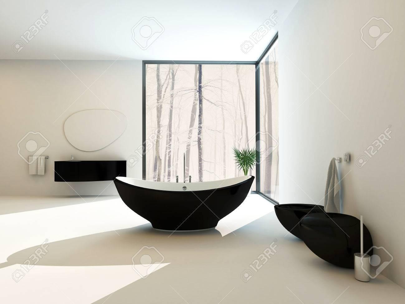 Bagno nero contemporaneo con una vasca da bagno a forma di barca ...
