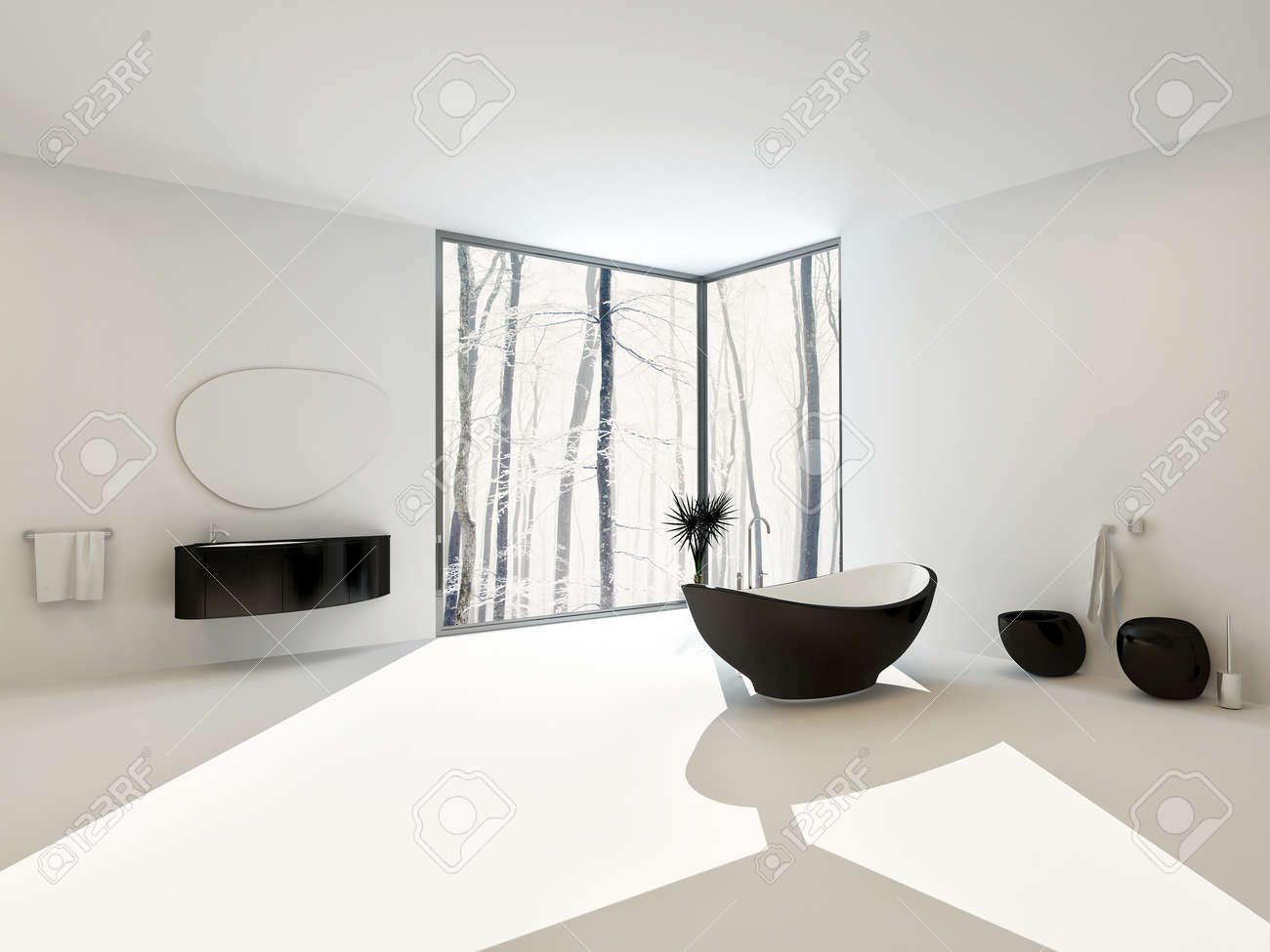 spacious all white bathroom. Luxury Spacious Airy Bright White Modern Bathroom Interior With Black Boat-shaped Bathtub And Matching All C