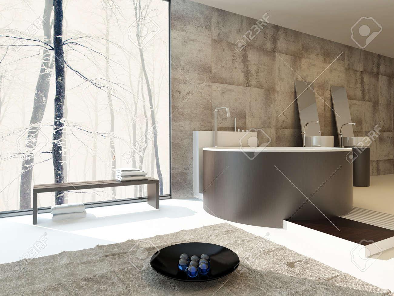 Intérieur de salle de bains de luxe moderne dans des bassins beige et  marron avec une baignoire autoportante circulaire et correspondant à la  main ...
