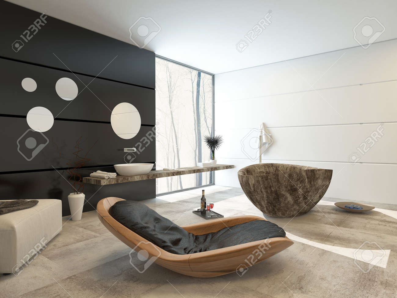 Contemporary Design In A Luxury Bathroom Interior With Comfortable Wooden Recliner Chair Ottoman