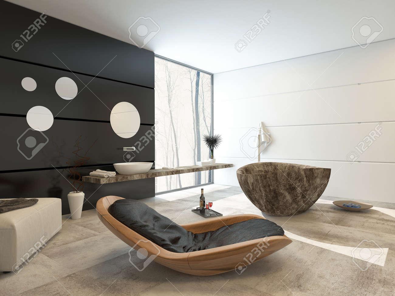 Design contemporain dans un intérieur d\'une salle de bains de luxe avec un  confortable fauteuil inclinable bois, pouf, marbre motif mur d\'accent ...