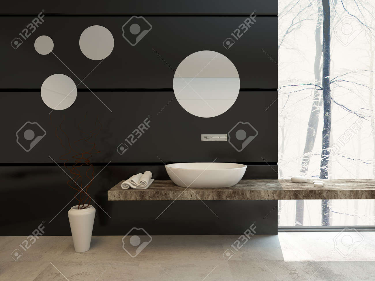 modern bathroom decor on a black wall with a wall-mounted hand