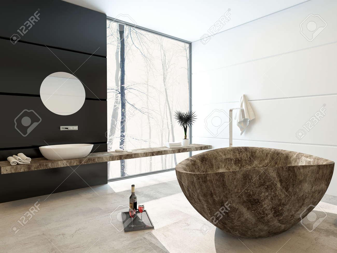 baignoire en marbre moderne dans une salle de bains de luxe avec un